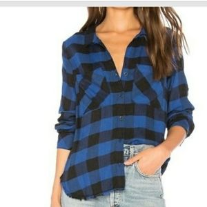 Cloth & Stone Frayed Plaid oversized button down